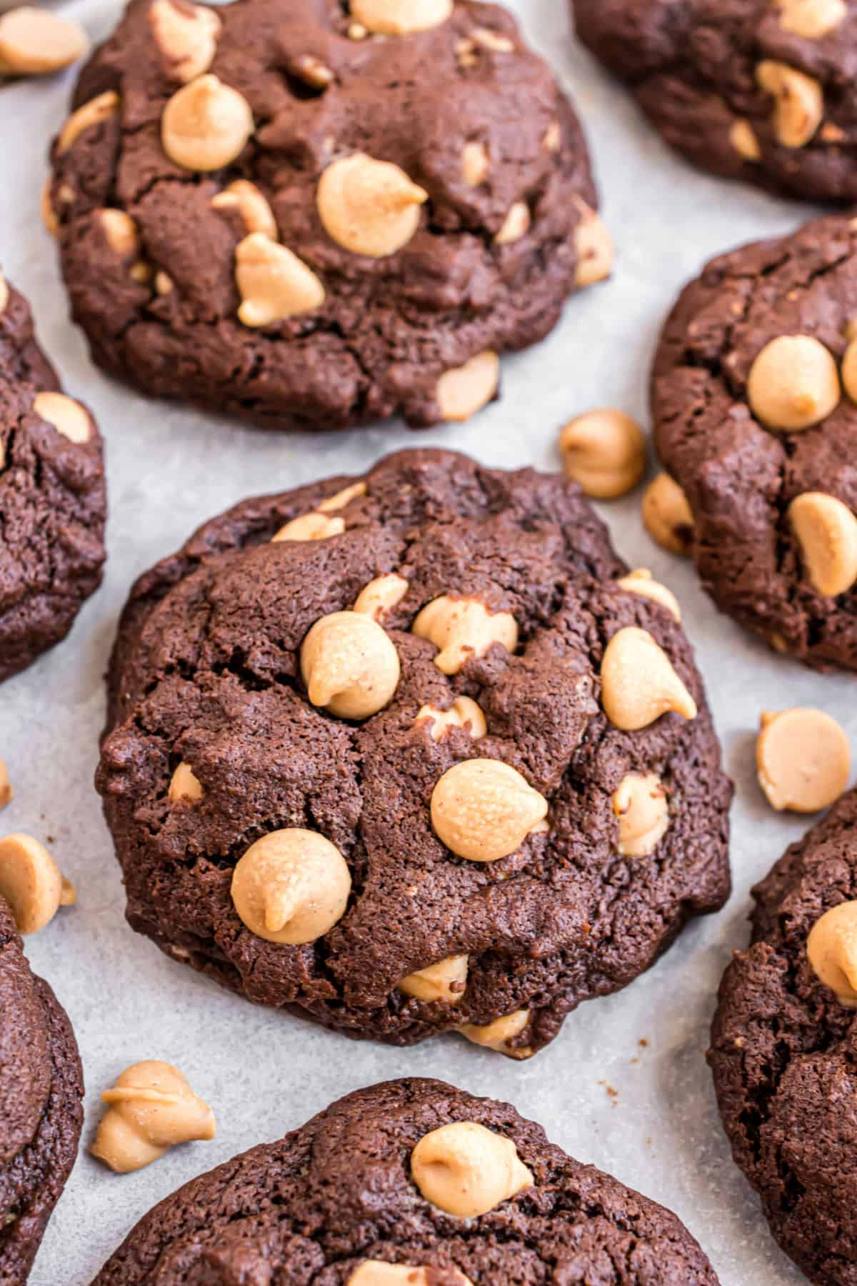 Chocolate cookies with peanut butter chips on a parchment paper lined cookie sheet.