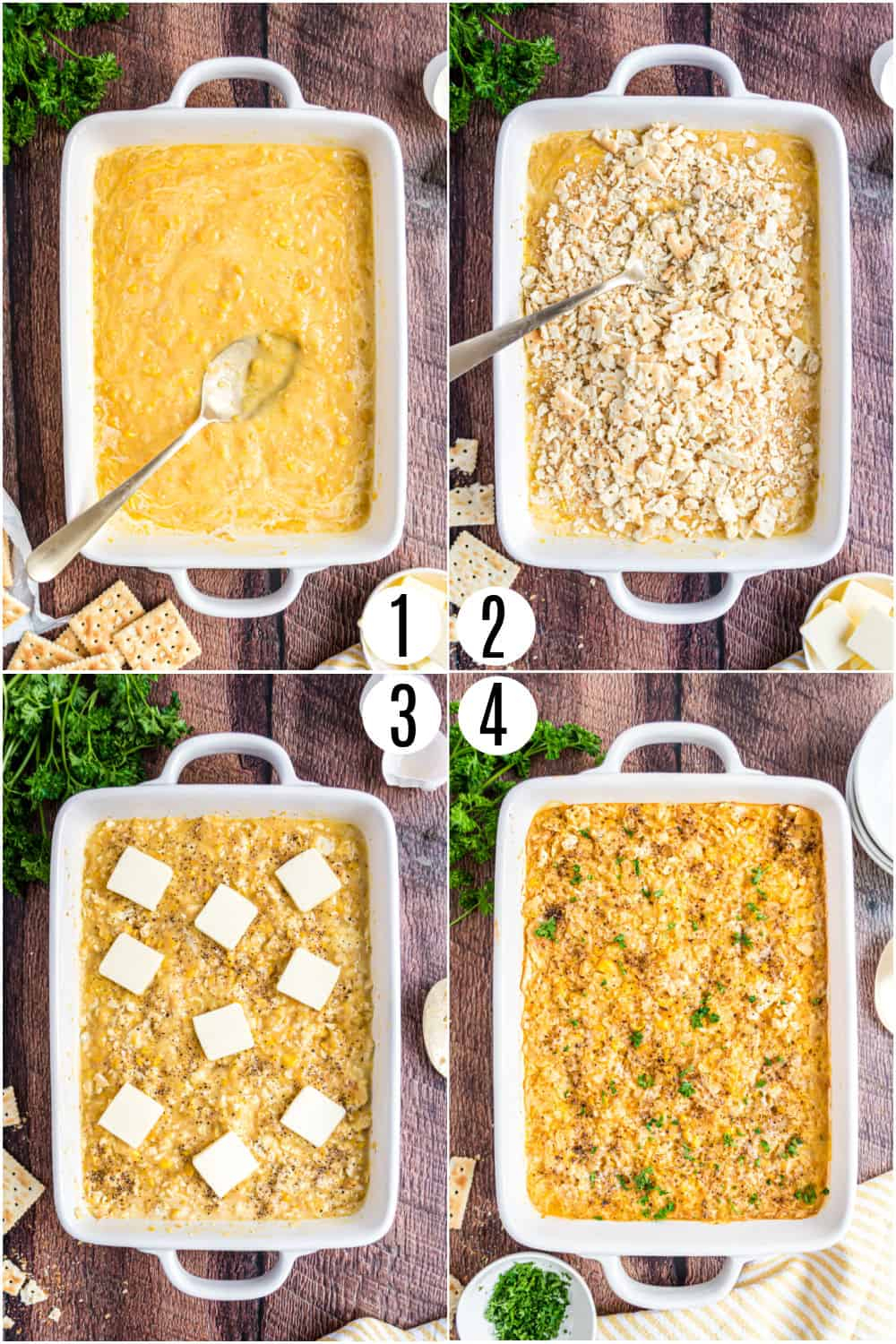 Step by step photos showing how to make corn casserole.