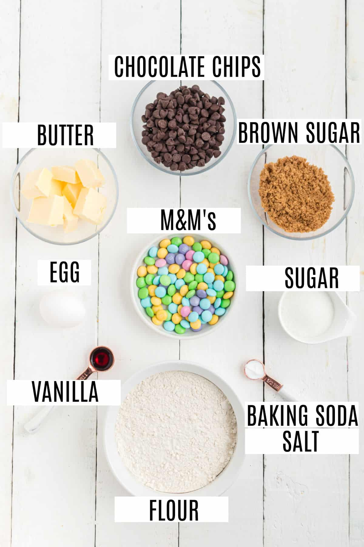 Ingredients needed to make easter chocolate chip cookie cake.