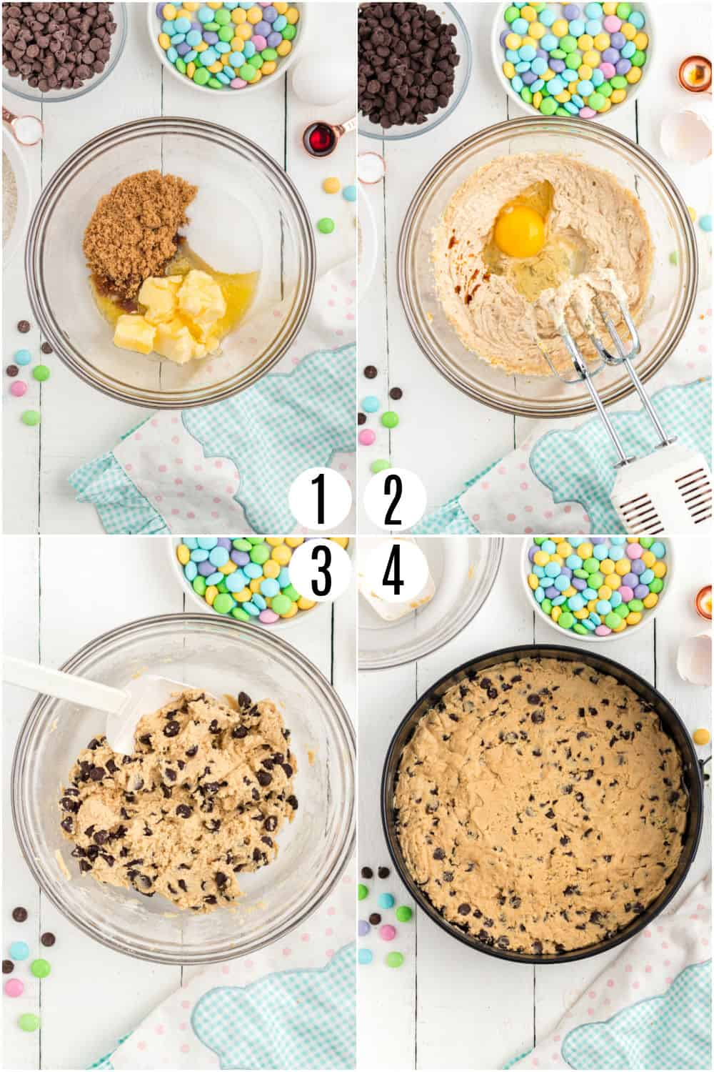 Step by step photos showing how to make an easter chocolate chip cookie cake.