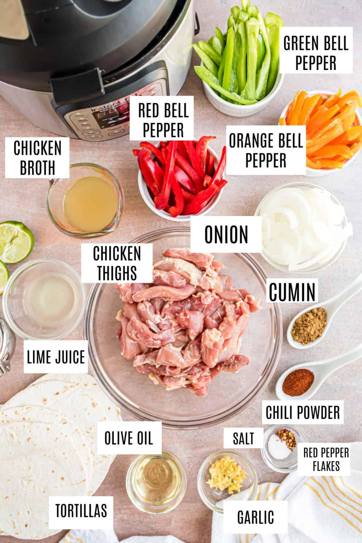 Ingredients needed for instant pot chicken fajitas.