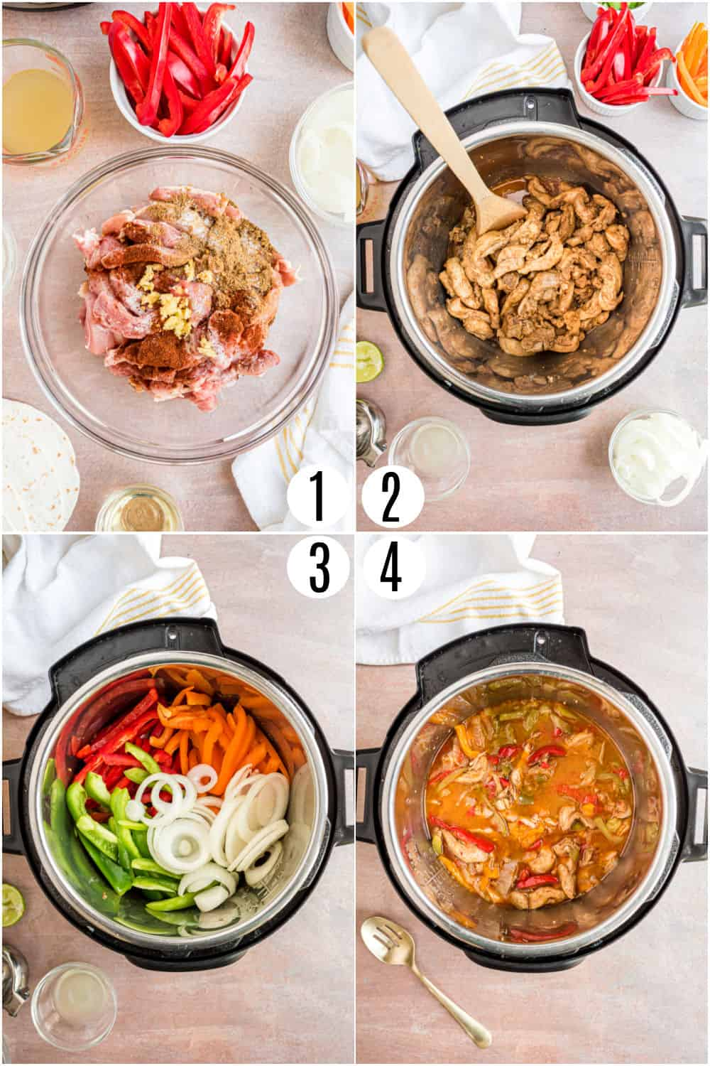 Step by step photos showing how to make chicken fajitas in the pressure cooker.
