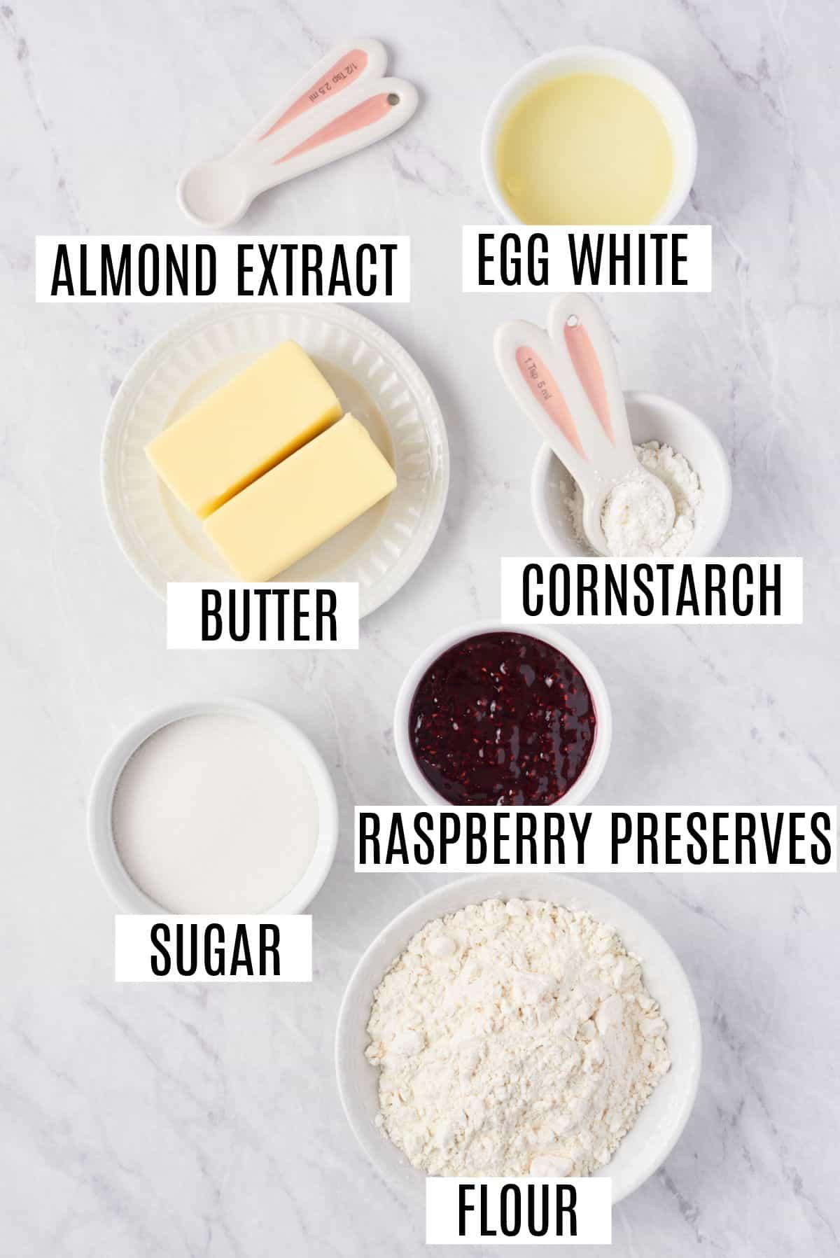 Ingredients needed for jam thumbprint cookies.
