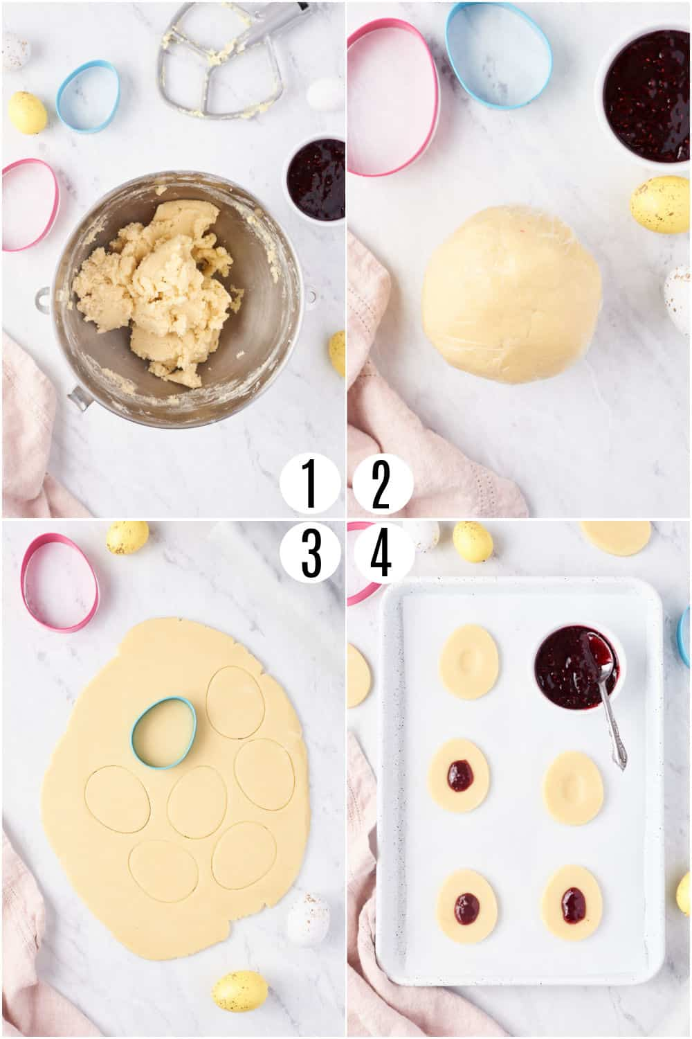 Step by step photos showing how to make Jam thumbprint cookies.