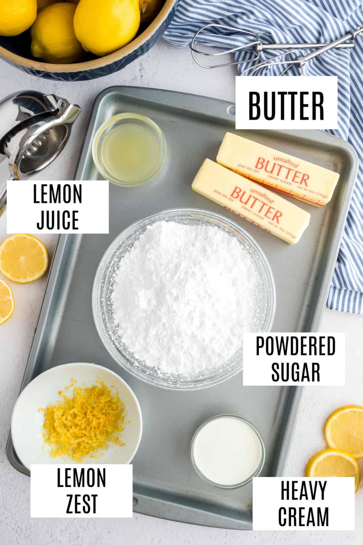 Ingredients needed for lemon buttercream frosting.