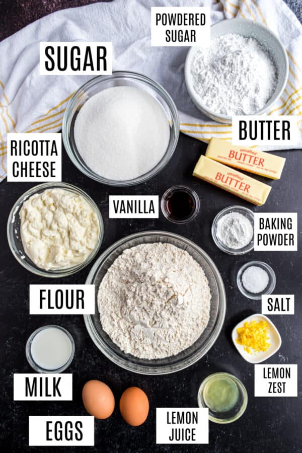 Ingredients needed to make homemade ricotta cookies.