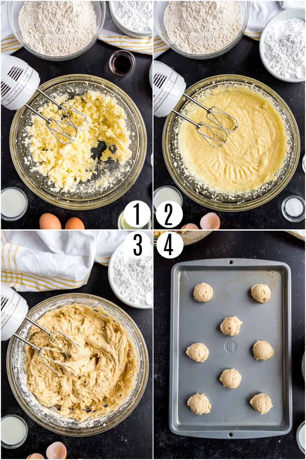 Step by step photos showing how to make lemon ricotta cookies.