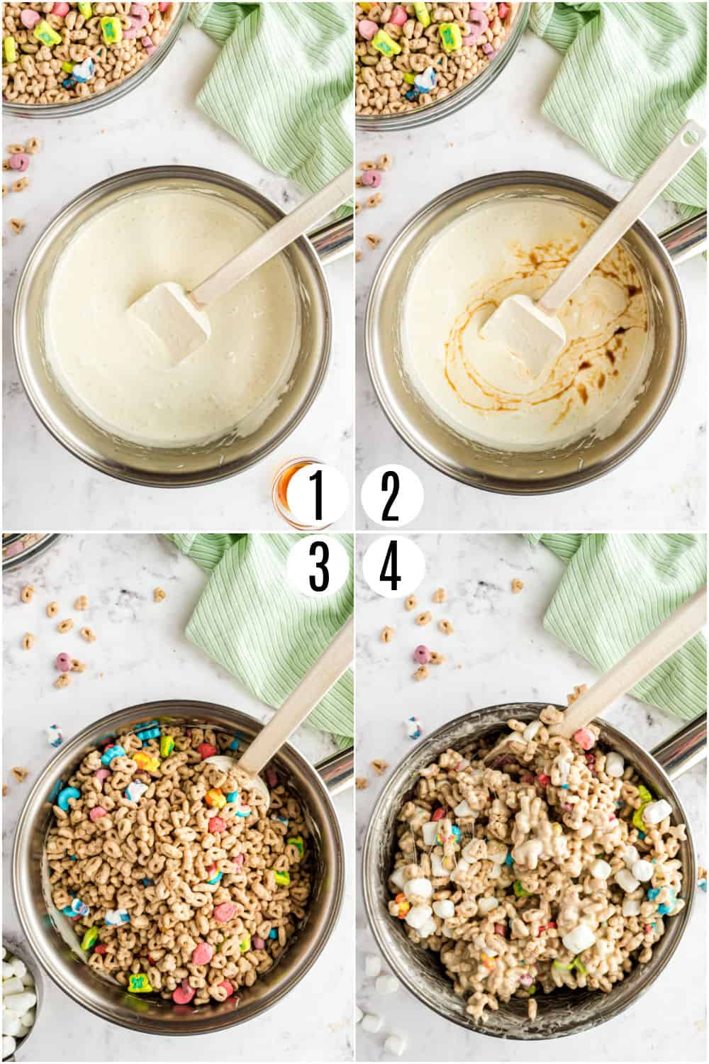 Step by step photos showing how to make lucky charms treat bars.