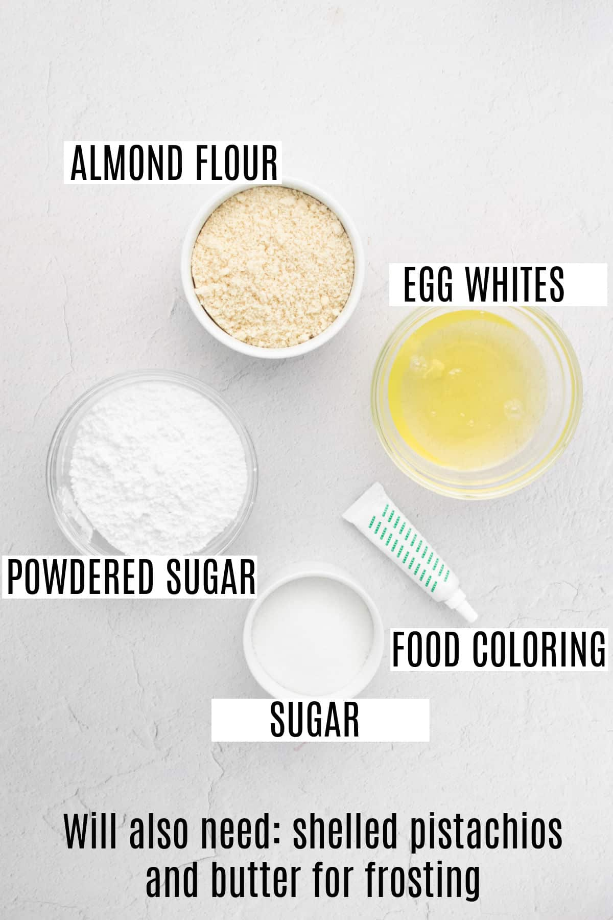 Ingredients needed for pistachio french macarons.