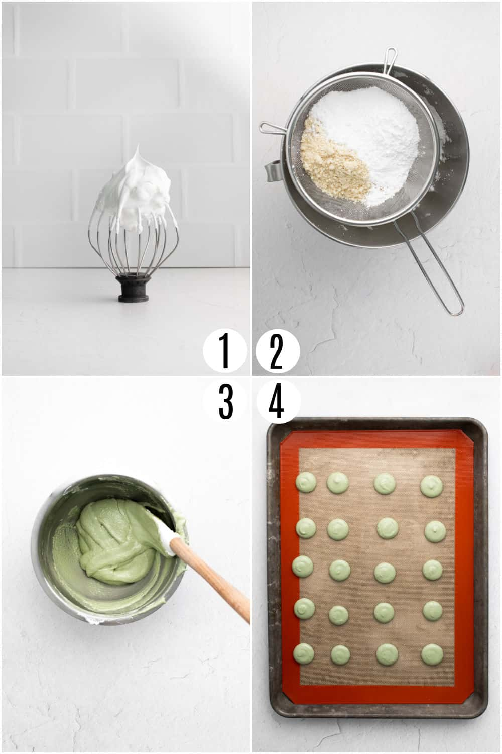Step by step photos showing how to make pistachio macarons.
