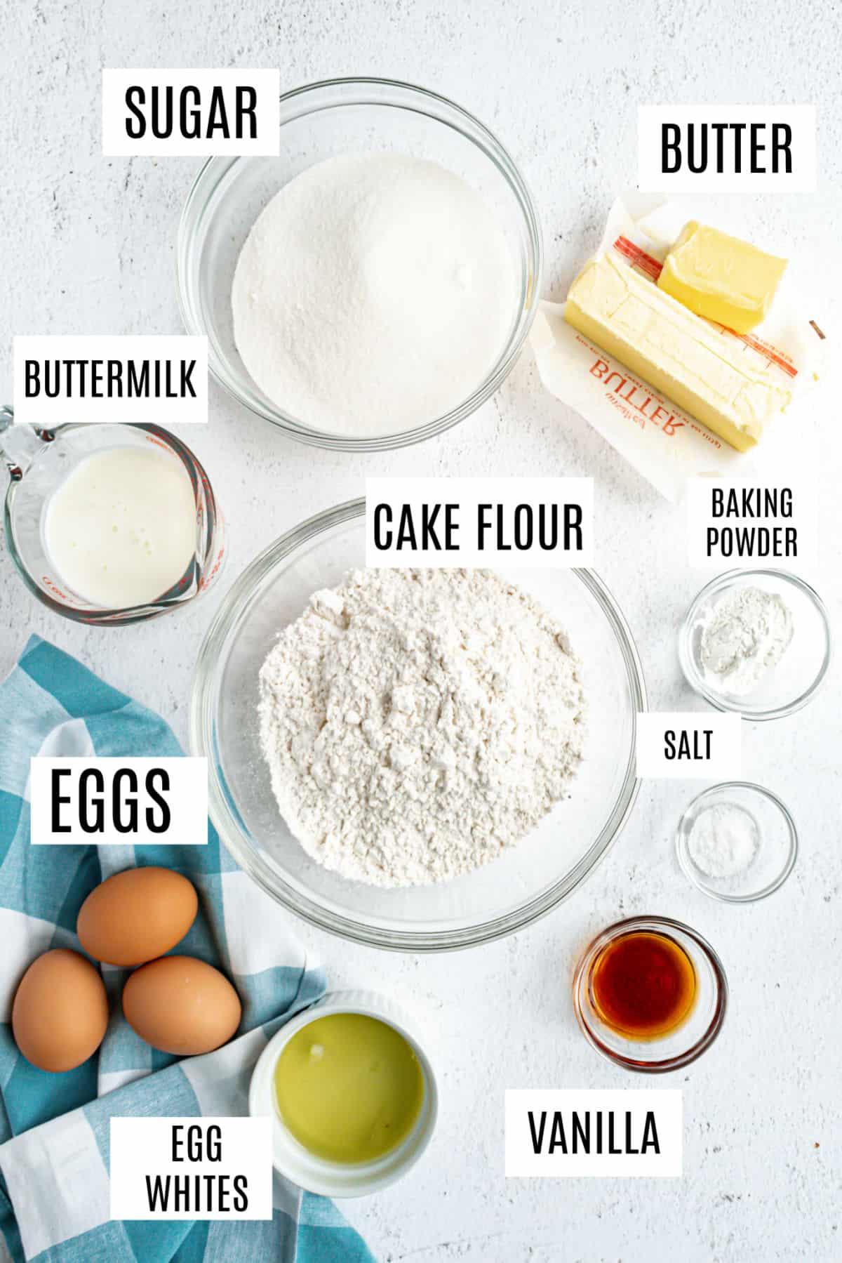 Ingredients needed to make vanilla sheet cake.