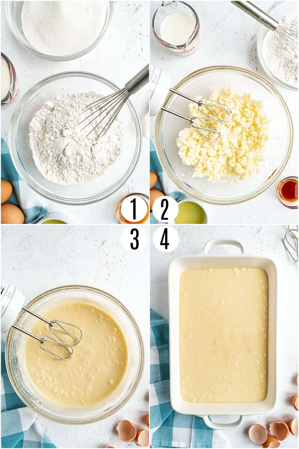 Step by Step photos showing how to make a vanilla sheet cake.