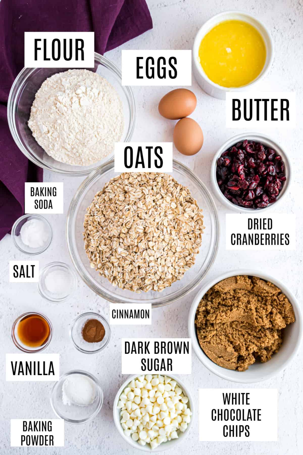 Ingredients needed to make white chocolate cranberry oatmeal cookies.