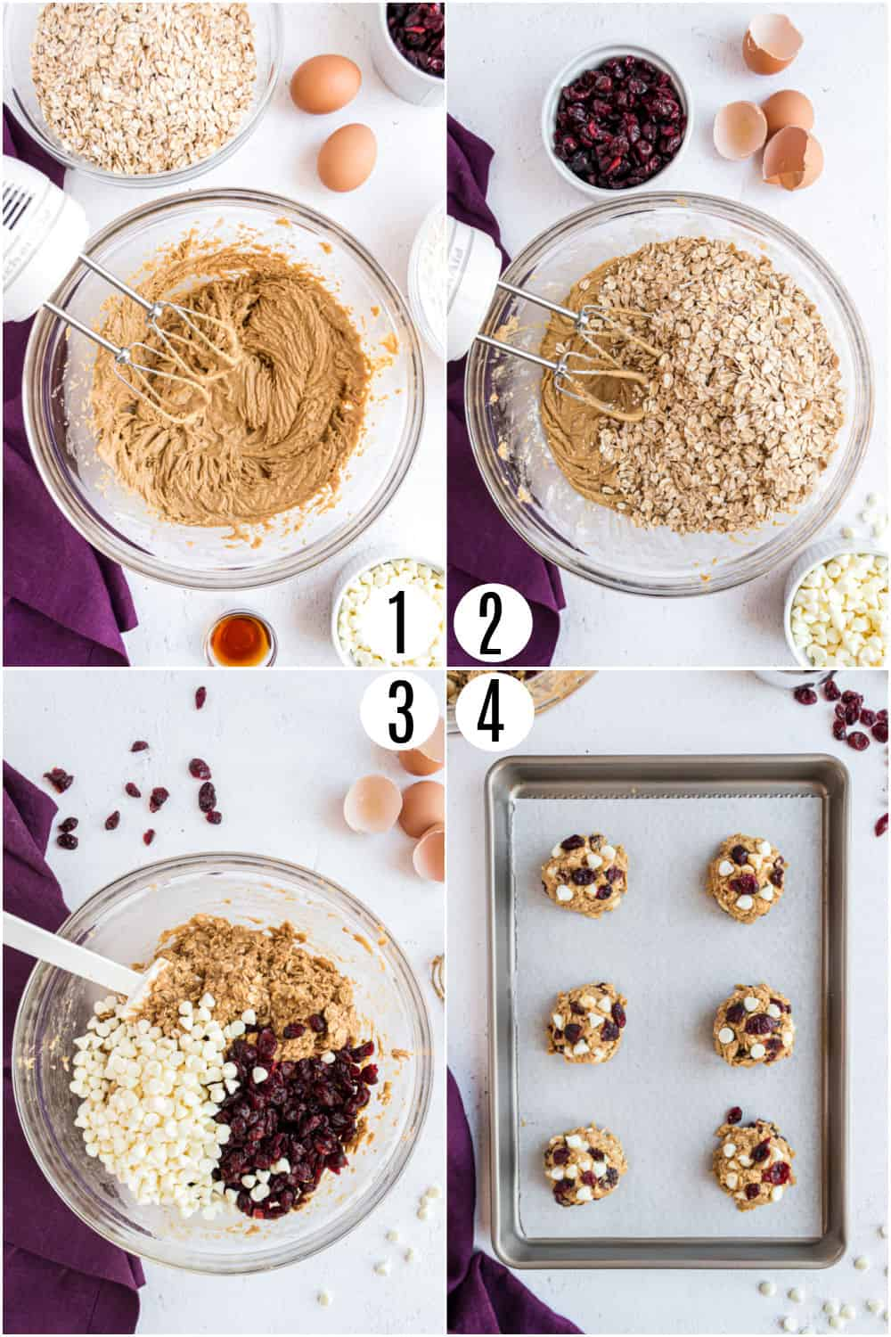 Step by step photos showing how to make oatmeal cookies with white chocolate and cranberries.