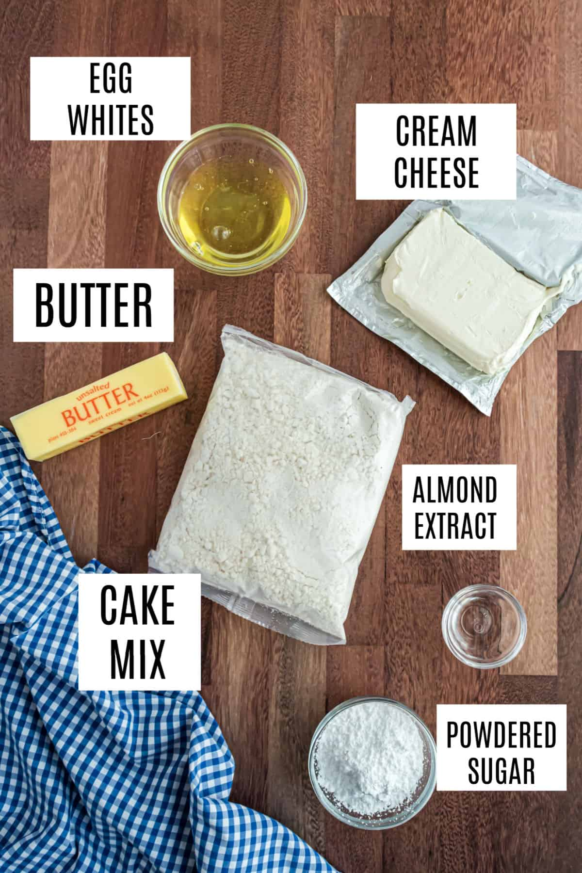 Ingredients needed for cheesecake cookie recipe.