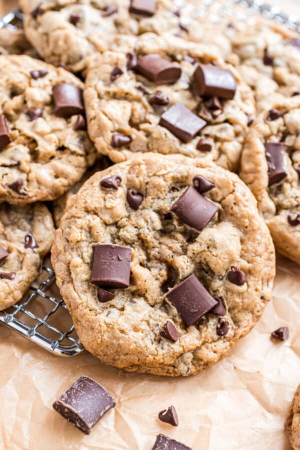 Chocolate chunk cookies on wire rack.