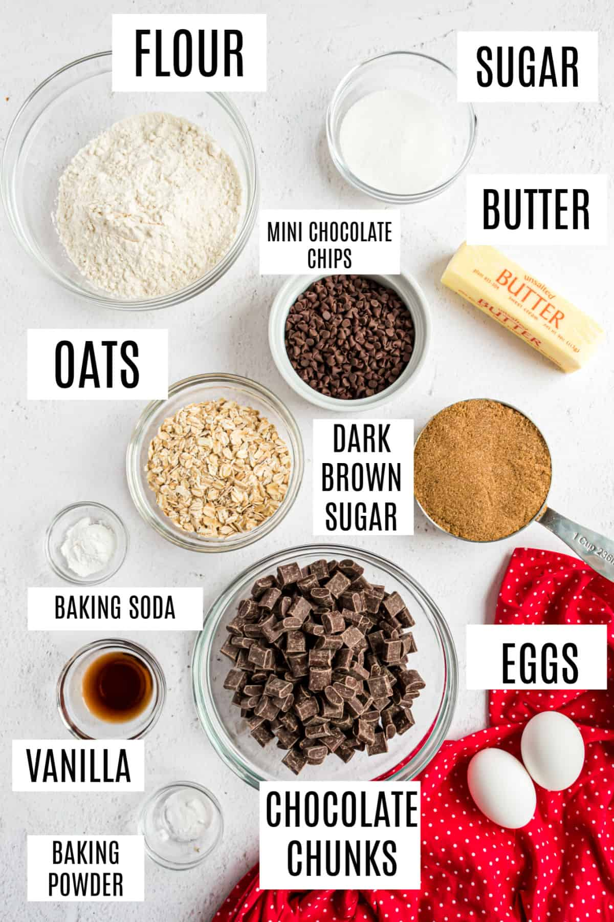Ingredients needed for chocolate chunk cookies with oatmeal.
