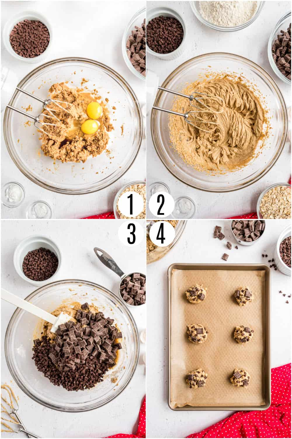 Step by step instructions showing how to make chocolate chunk cookies.