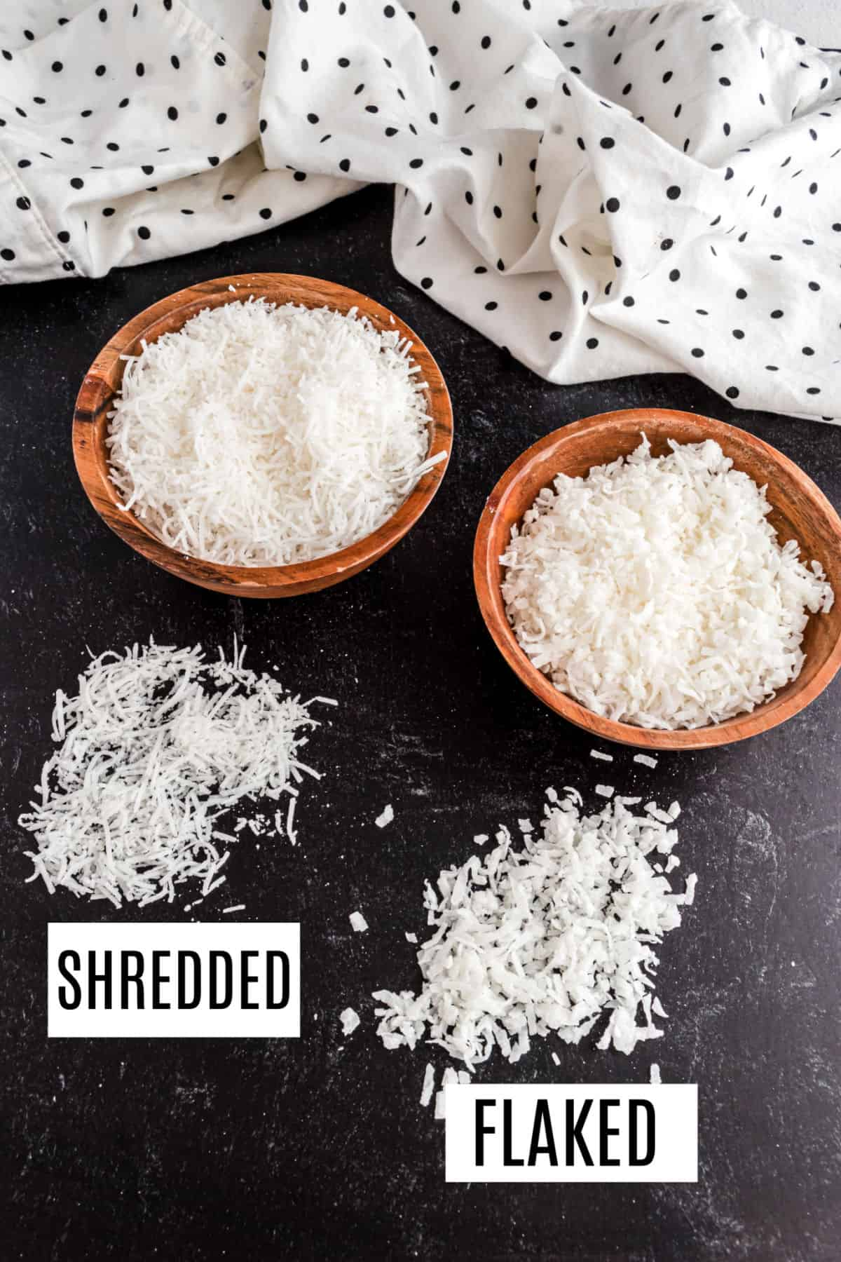 Shredded and flaked coconut in bowls for comnparison.