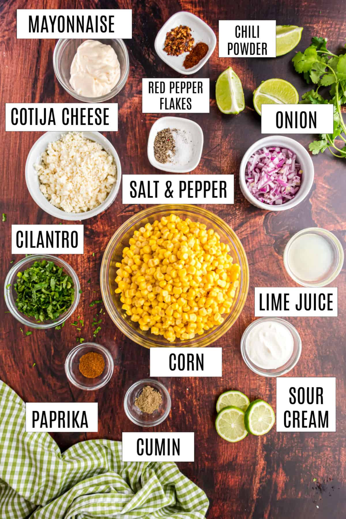 Ingredients needed for mexican street corn recipe.
