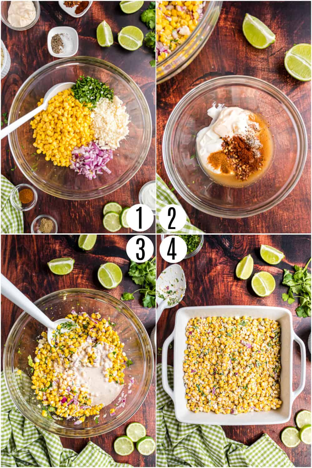 Step by step photos showing how to make mexican street corn.
