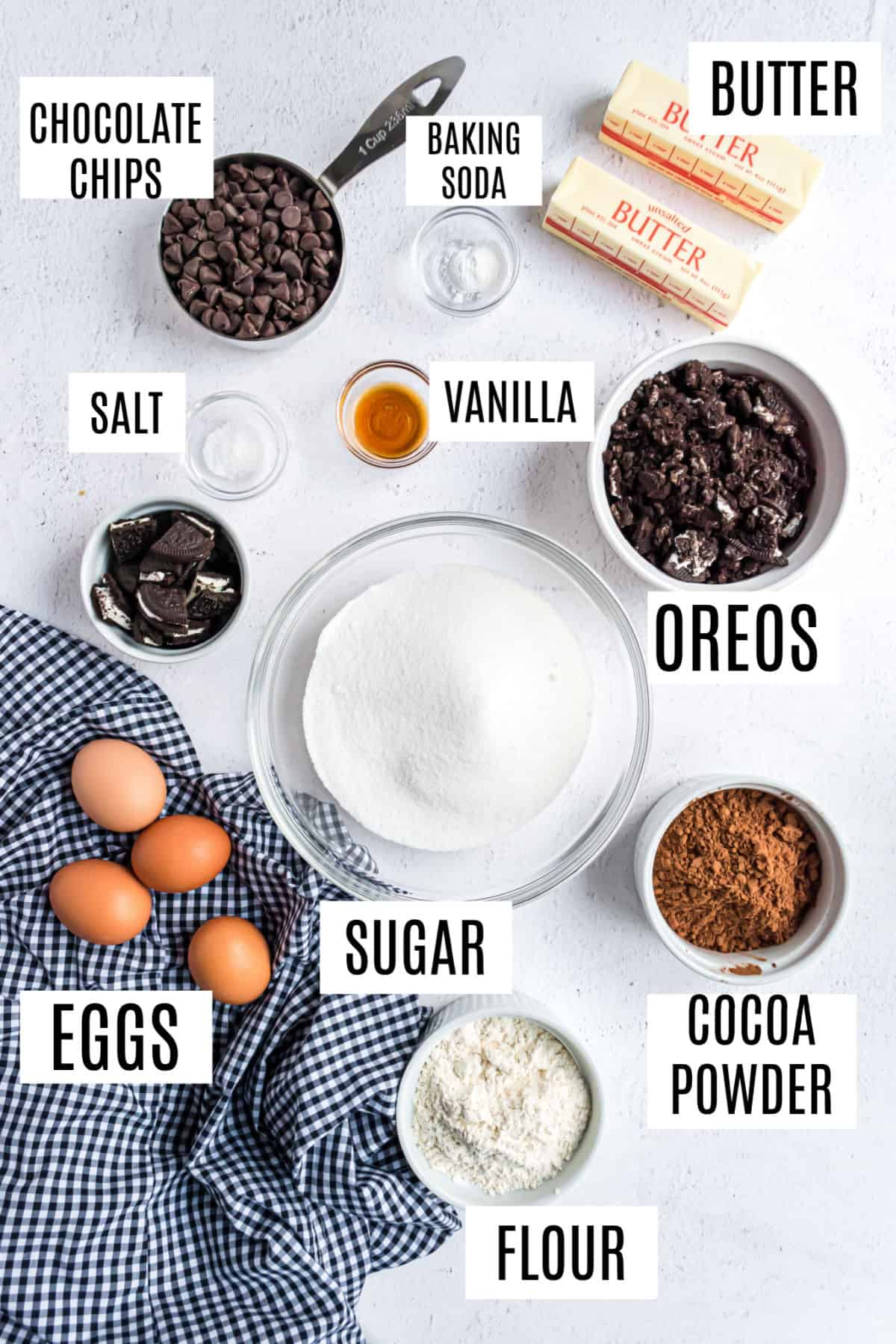 Necessary ingredients for making Oreo brownies.