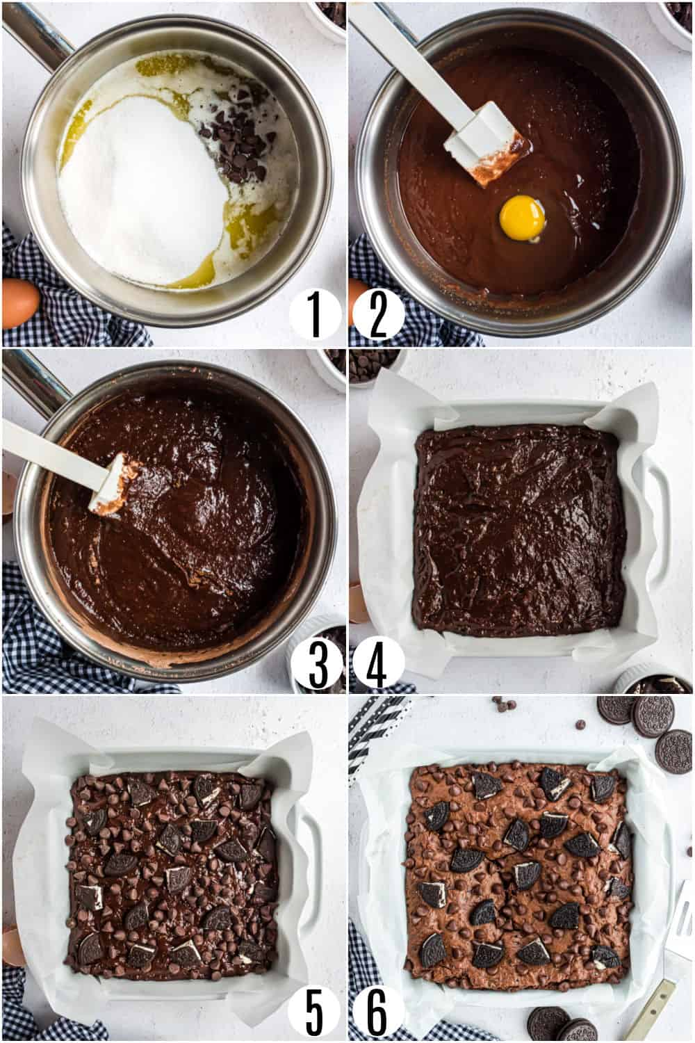 Step-by-step instructions for making oreo brownies.