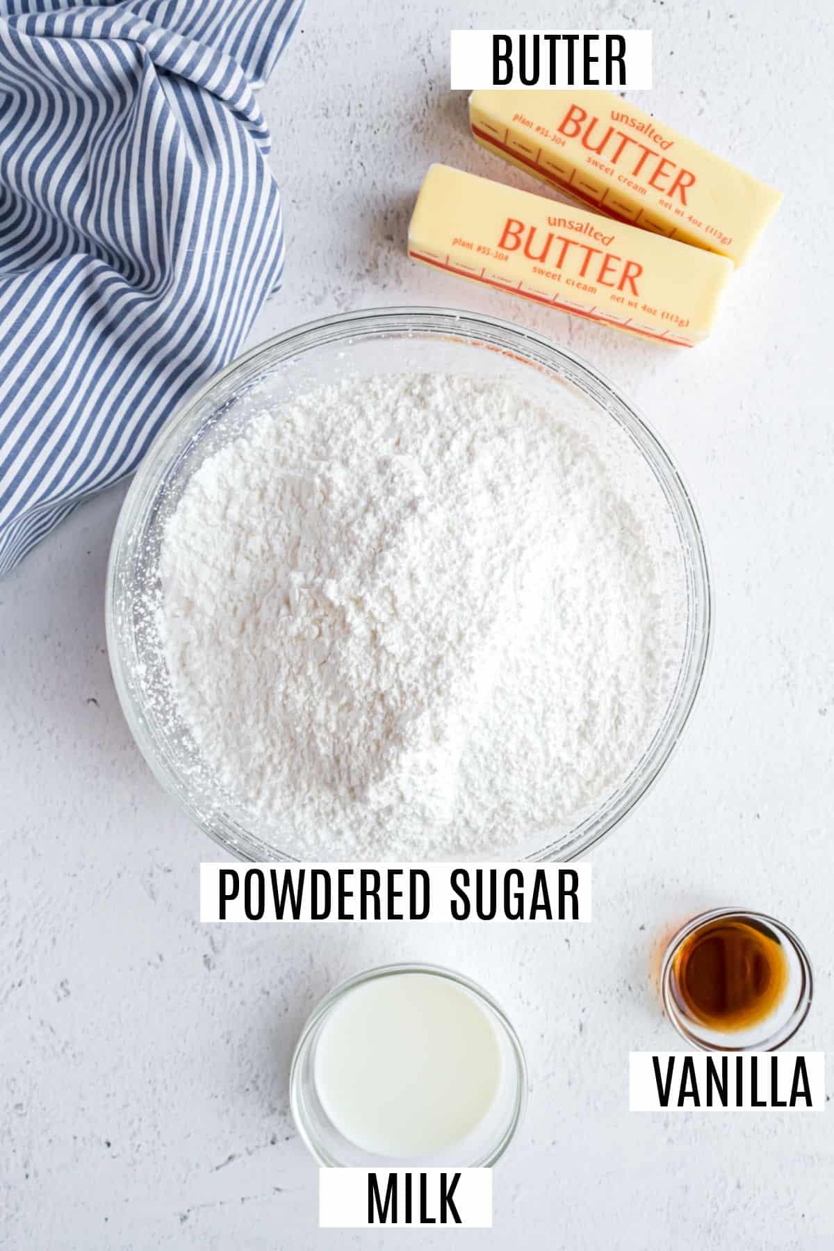 Four ingredients to make vanilla buttercram frosting.