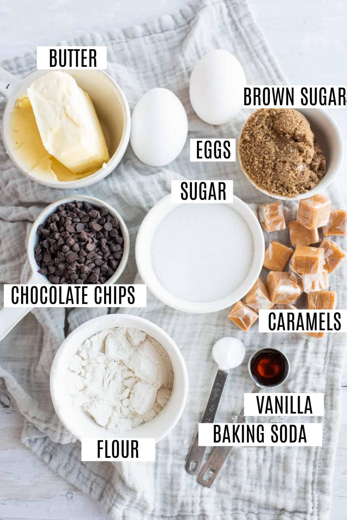 Ingredients needed to make caramel stuffed chocolate chip cookies.