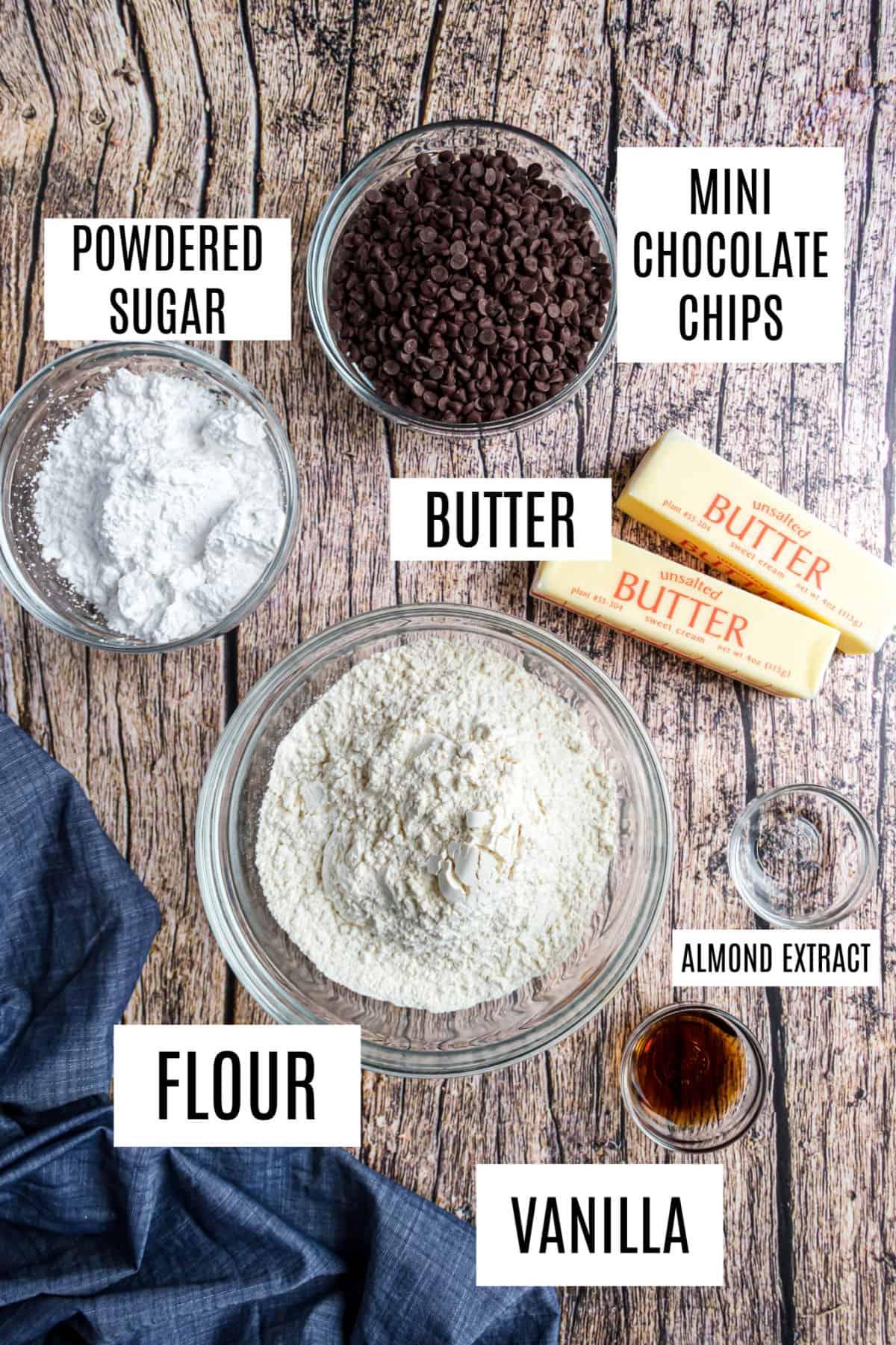 Ingredients needed for chocolate chip shortbread cookies.