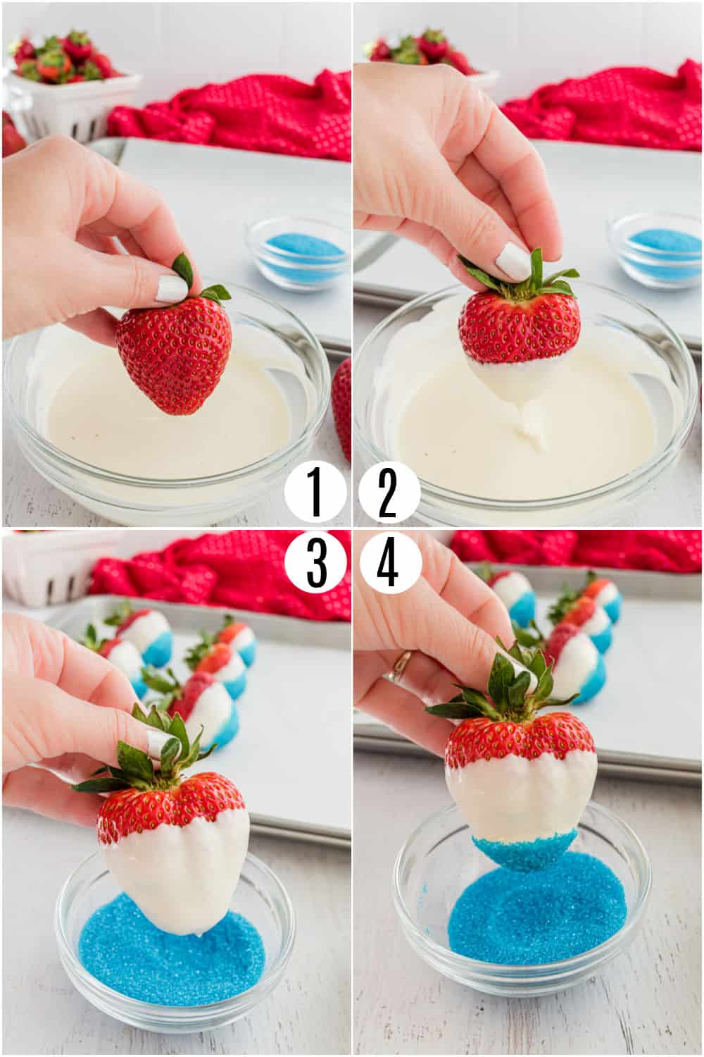 Step by step photos showing how to dip strawberries in white chocolate.