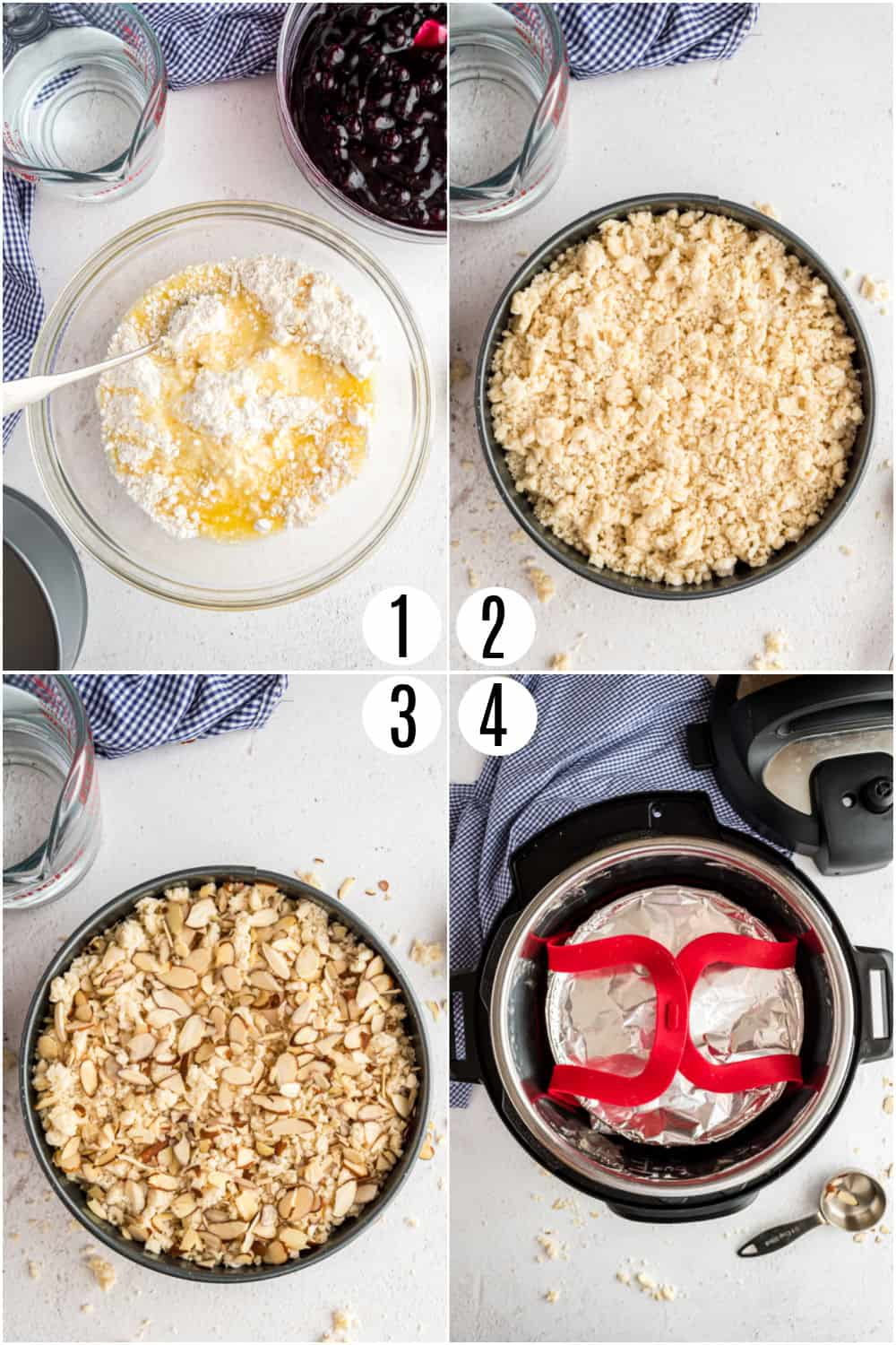 Step by step photos showing how to make blueberry cobbler in the Instant Pot.