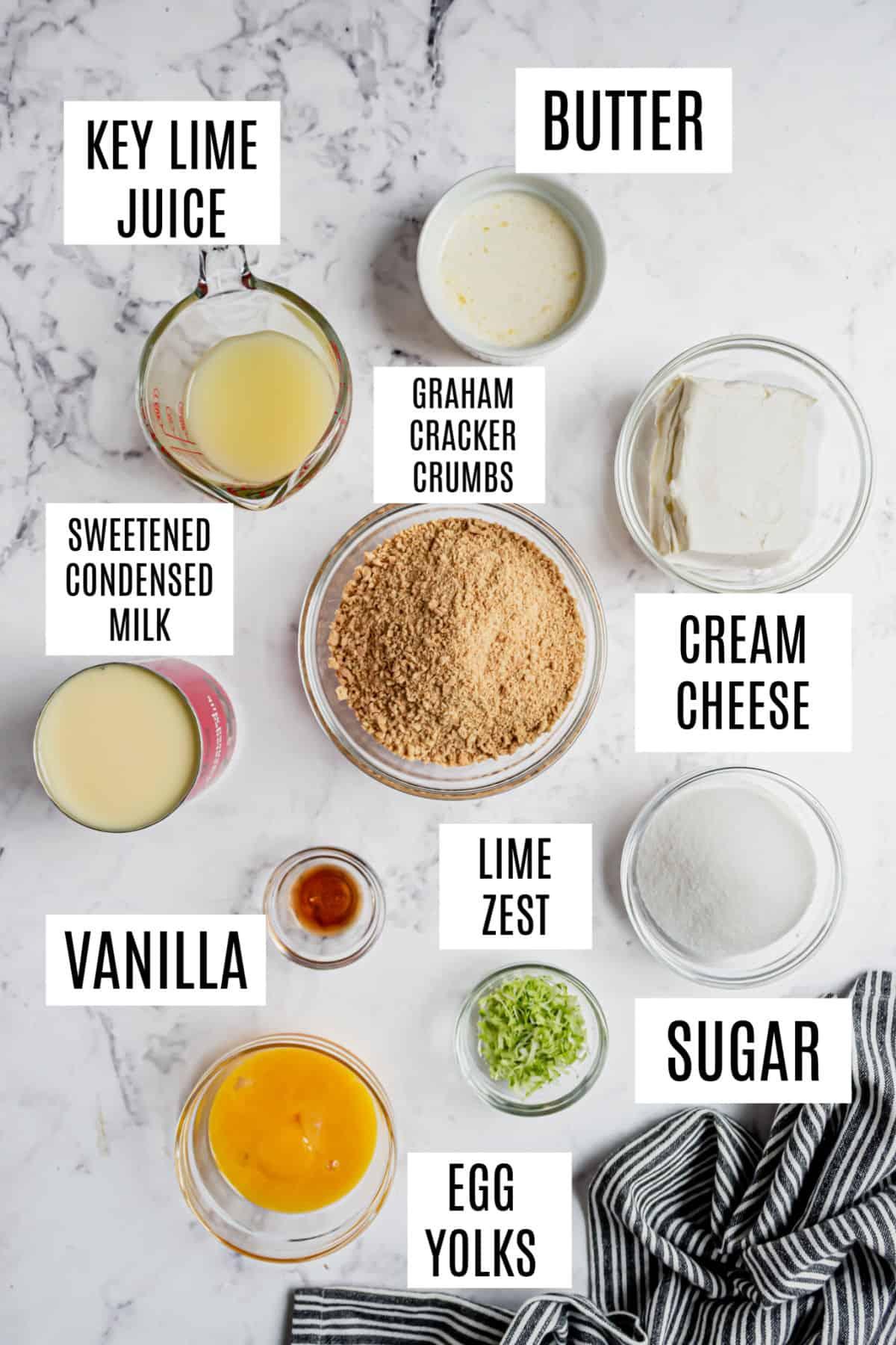 Ingredients needed to make key lime pie bars.