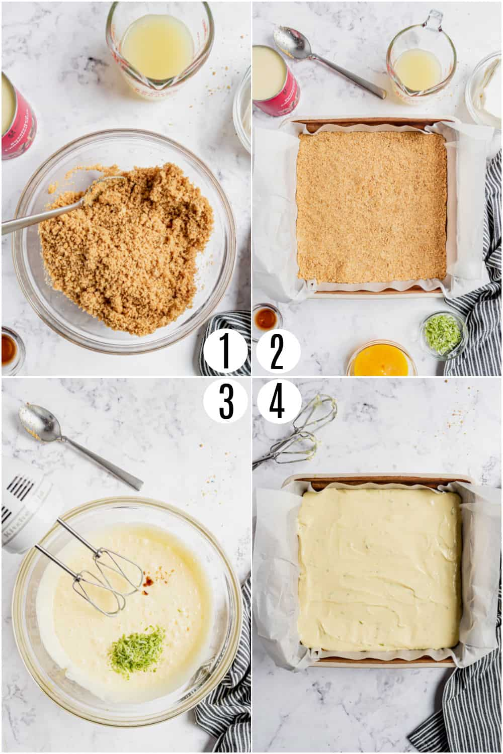 Step by step photos showing how to make key lime pie bars.