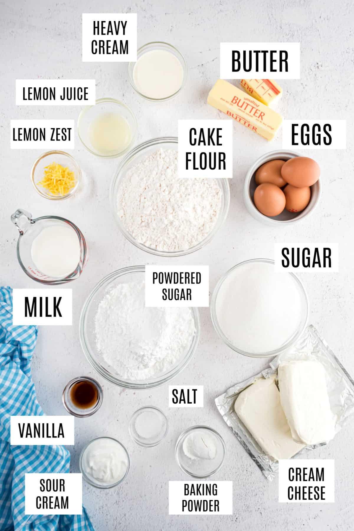Ingredients needed for lemon cheesecake cake.