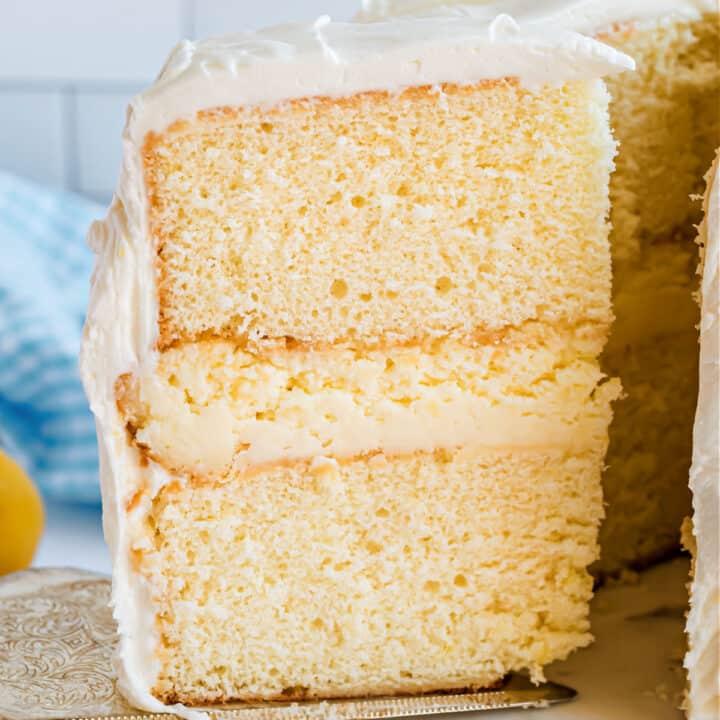 Slice of cake with layeres revealed.
