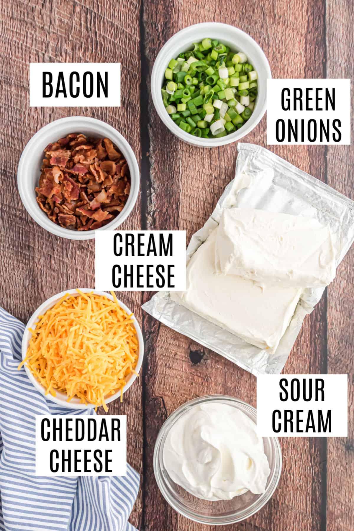 Ingredients needed for warm potato chip dip recipe.