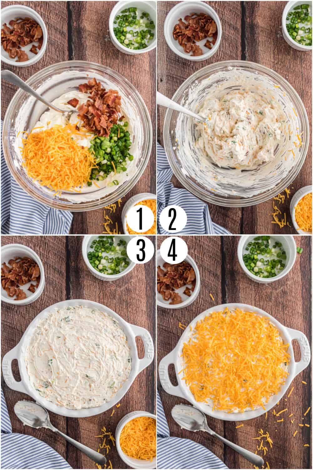 Step by step photos showing how to make potato chip dip.