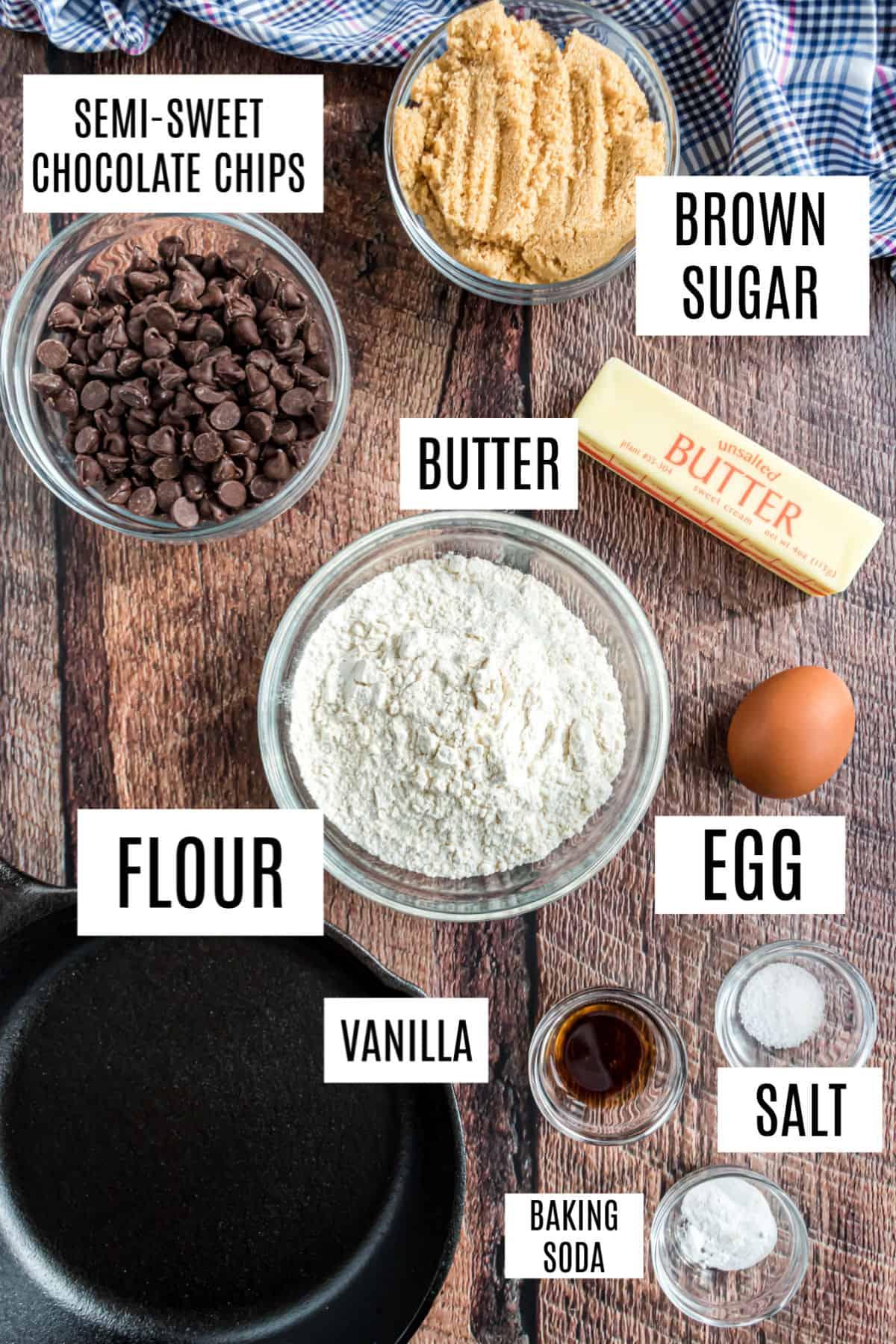 Ingredients needed to make pizookie.
