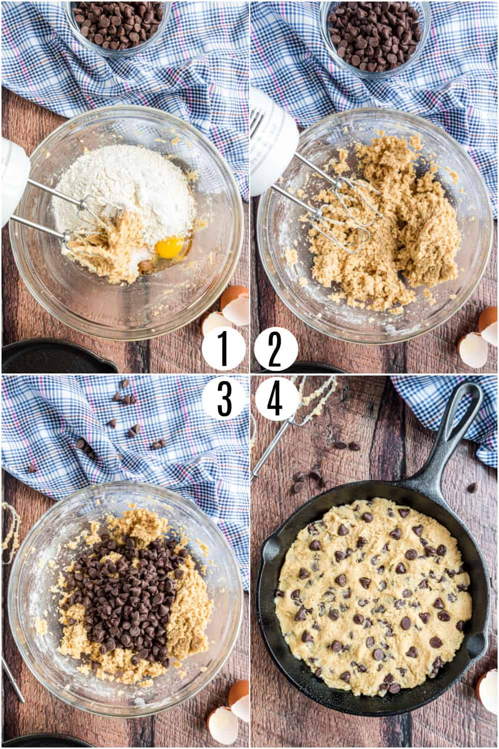Step by step photos showing how to make a pizookie.