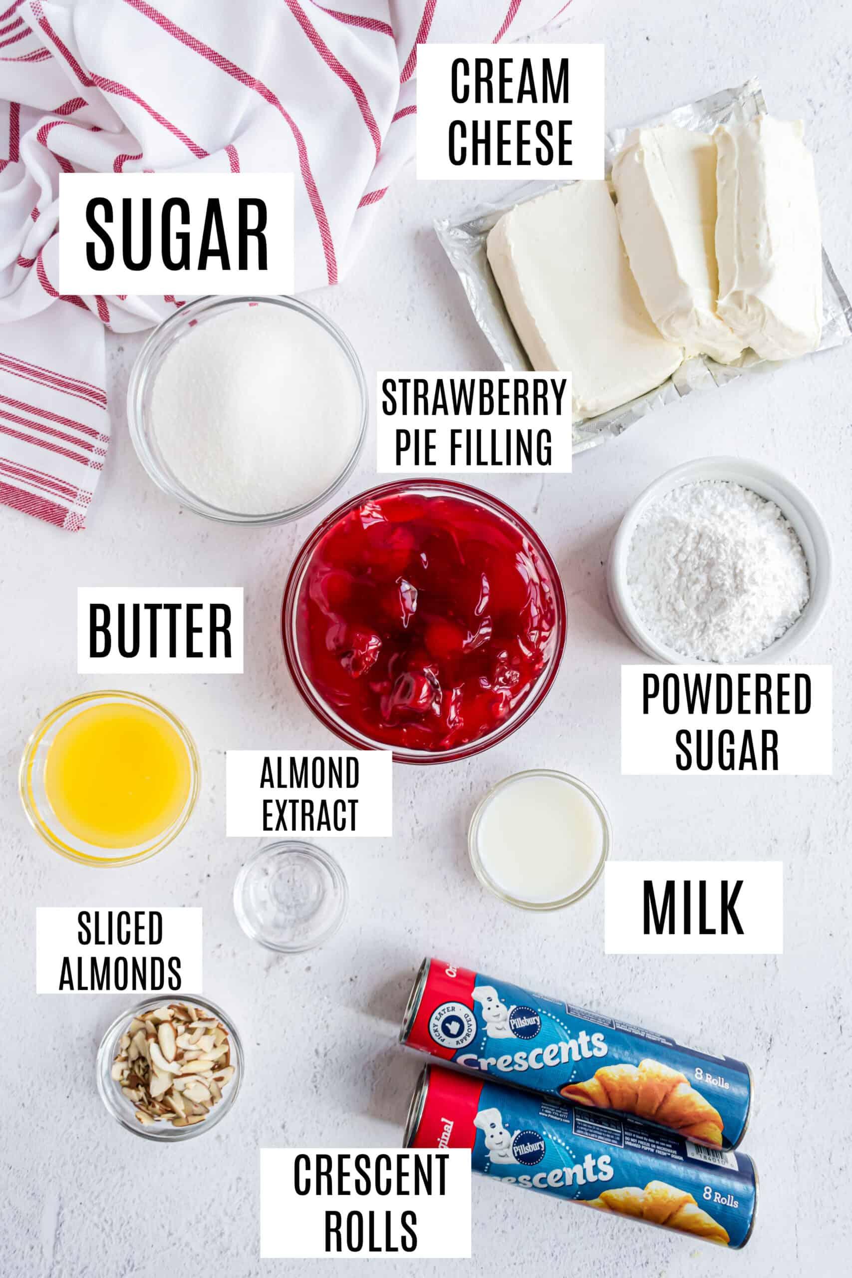 Ingredients needed for strawberry cream cheese danish recipe.