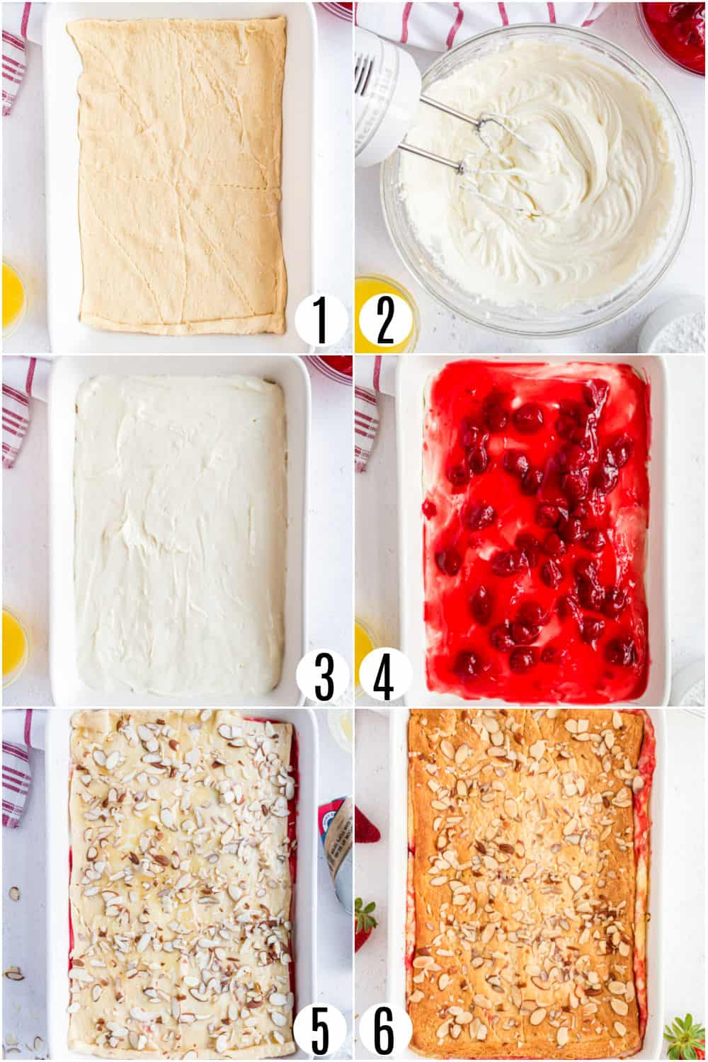Step by step photos showing how to assemble strawberry cream cheese danish.