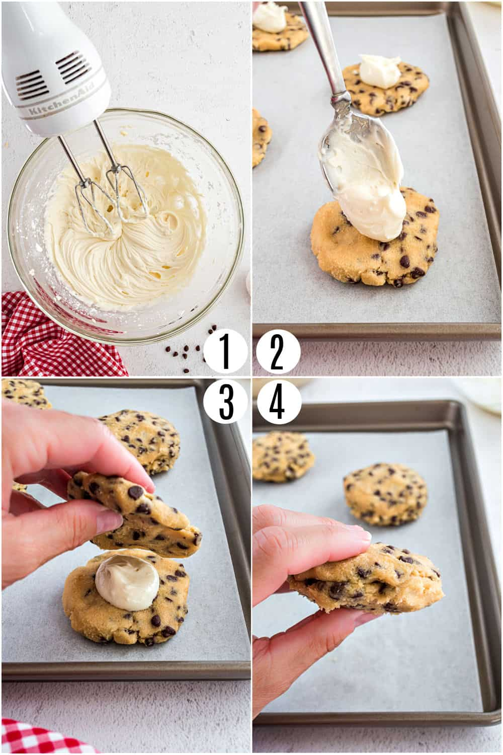 Step by step photos showing how to add cheesecake filling to cookies.