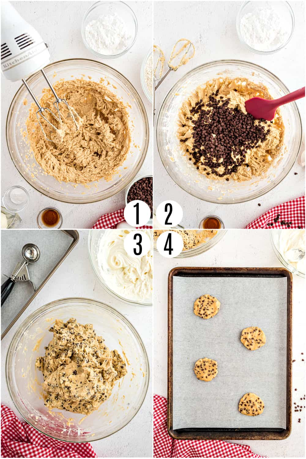 Step by step photos showing how to make chocolate chip cookie dough.