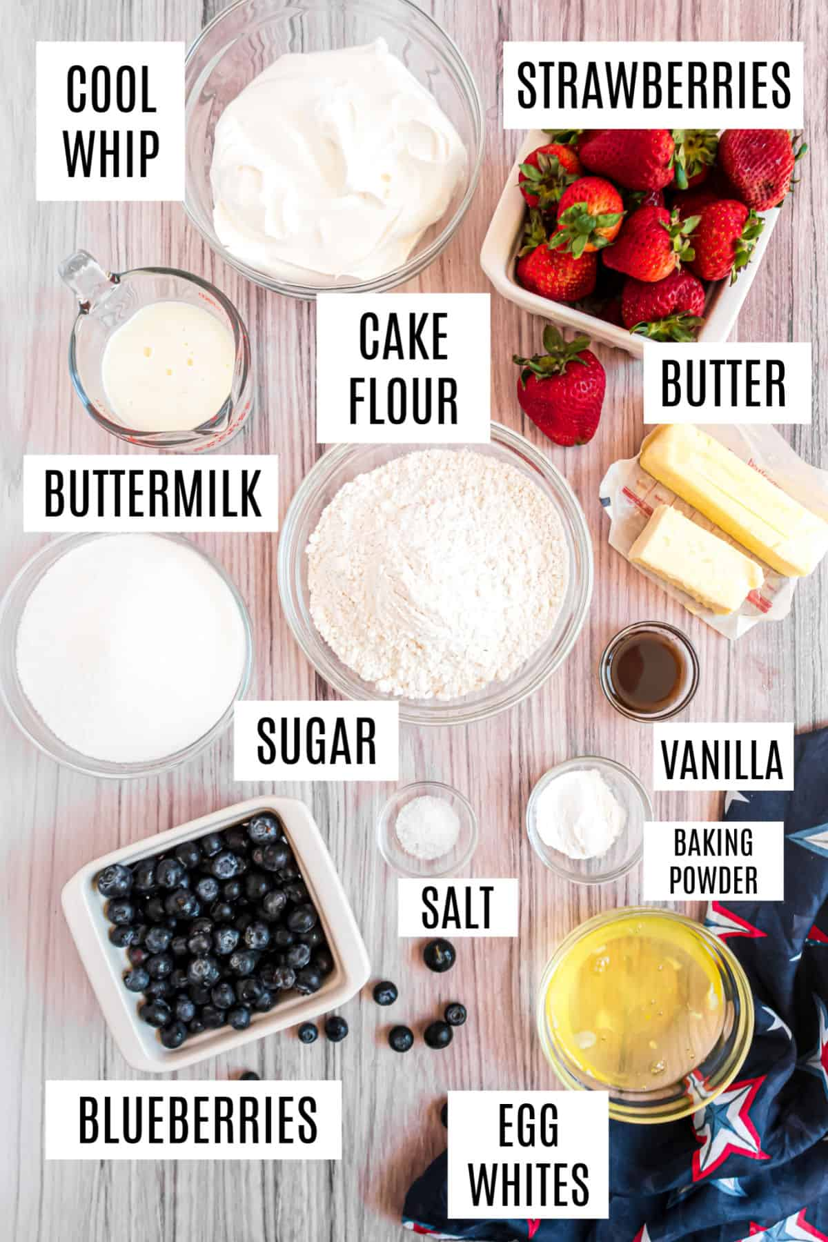 Ingredients needed to make a flag cake with fresh berries and a white cake.