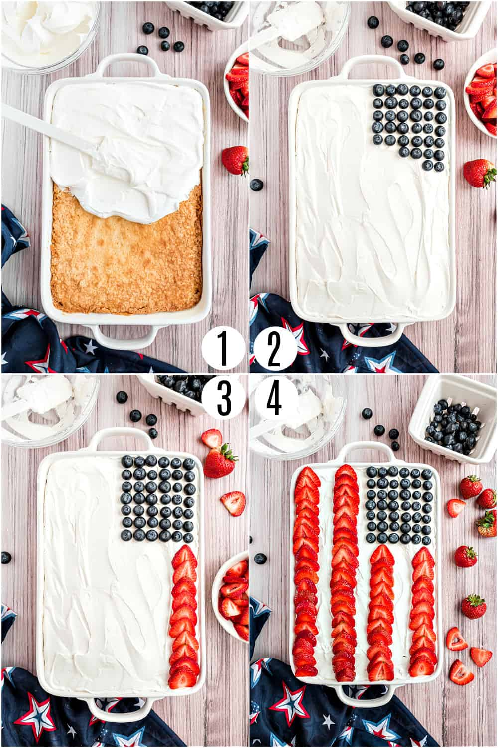 Step by step photos showing how to assemble a flag cake.