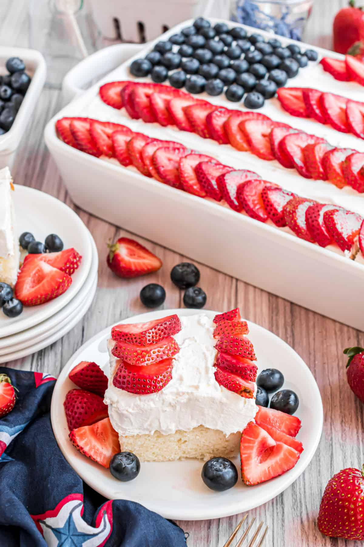 Slice of white cake with fresh berries to mimic an American flag.