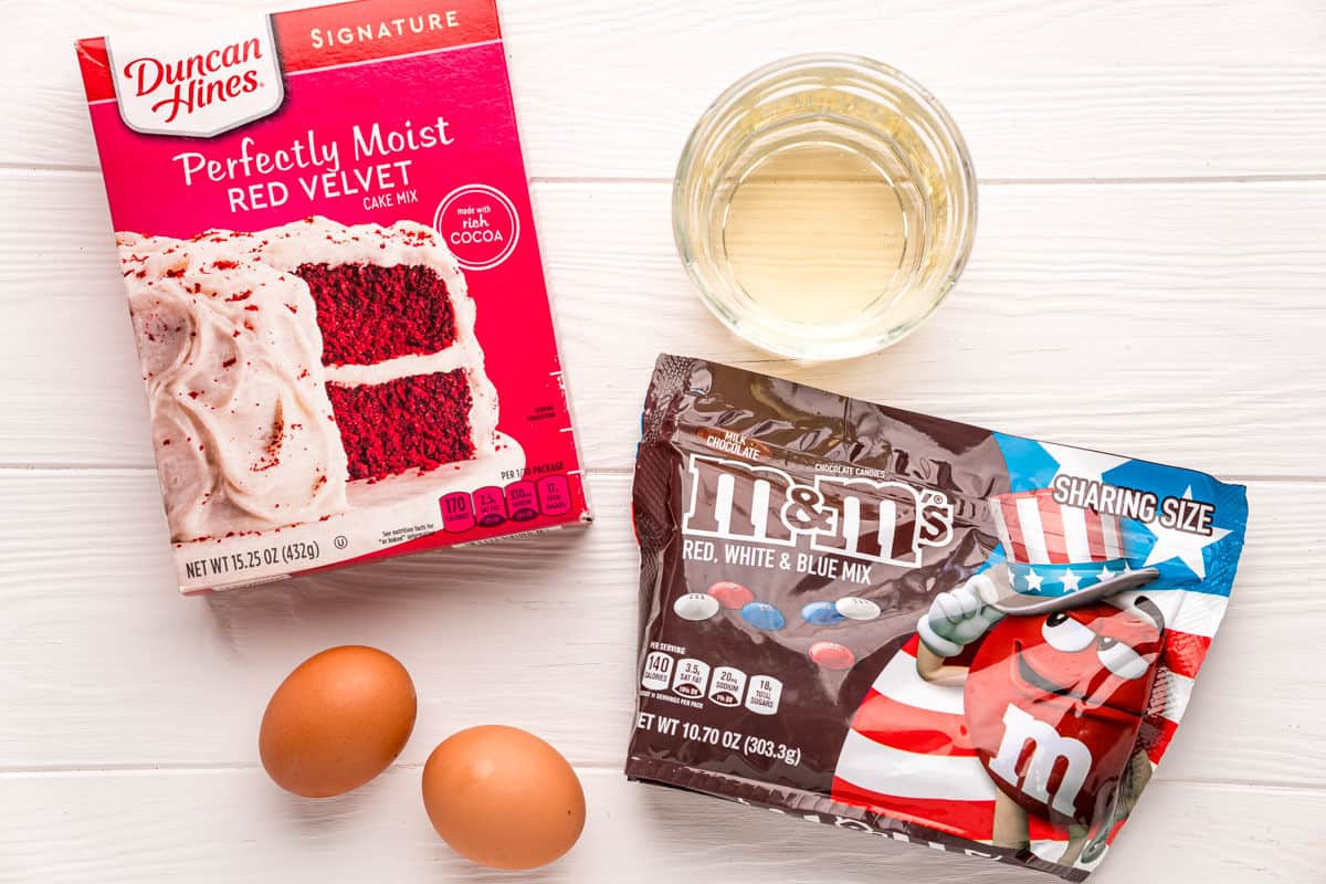 Four easy ingredients for red velvet cake mix cookies.
