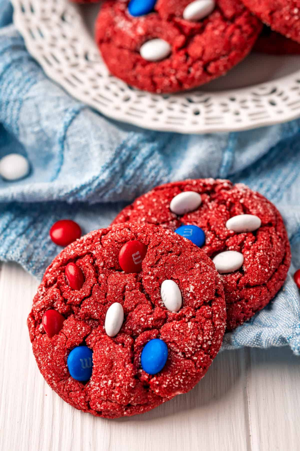 Red velvet cookies with red white and blue candy mixed in.