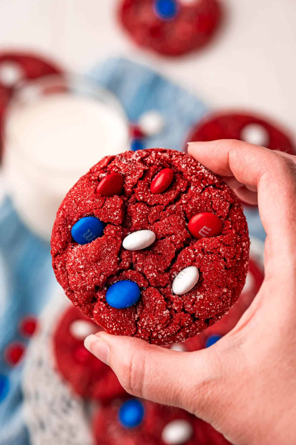 Red velvet cookie with red white and blue candies.